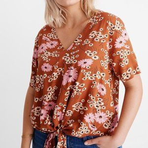 Madewell Novel Tie-Front Top in Hillside Daisies